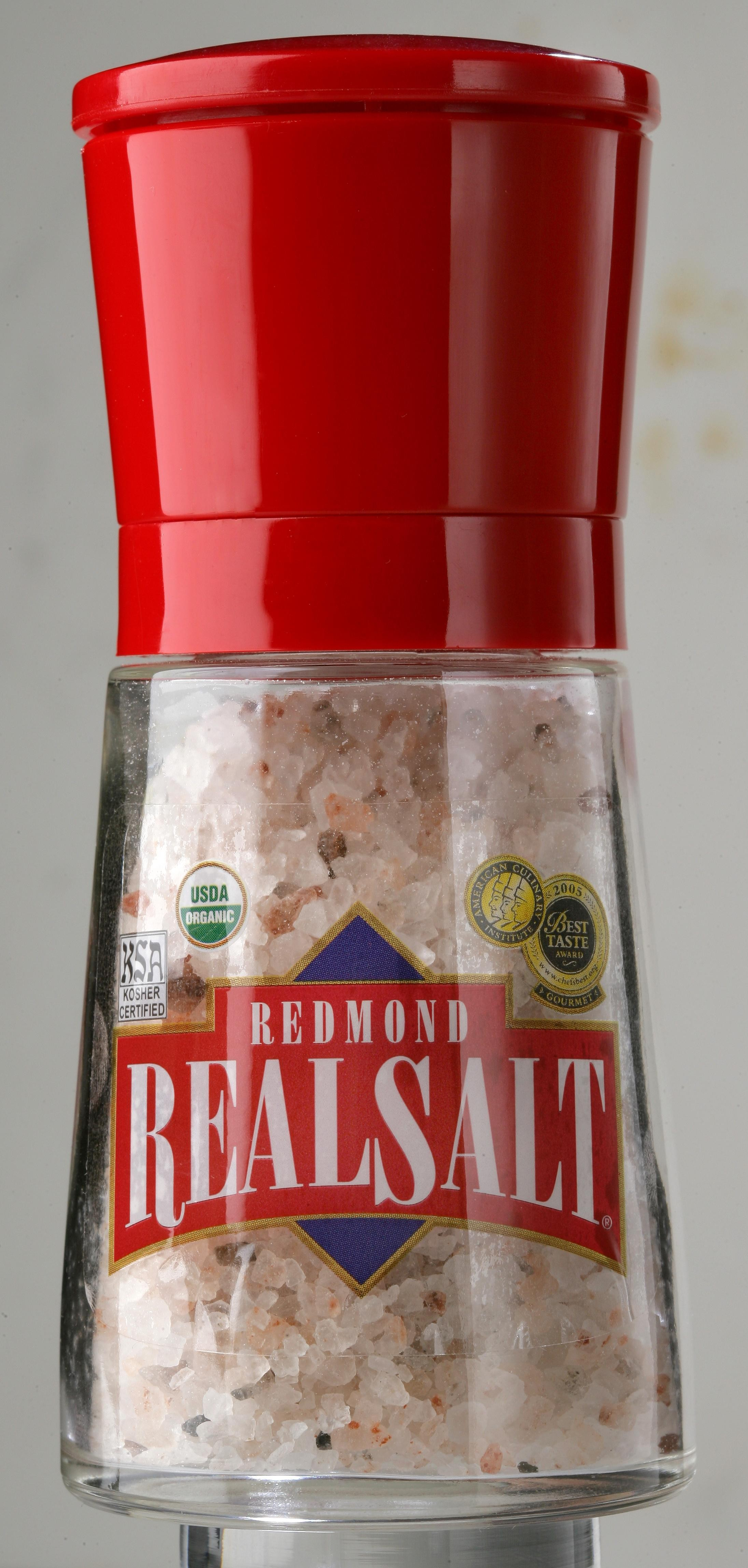 "Red Bavaria Glass and Ceramic Grinder w/ Real Salt Coarse Grind Salt (""5oz"")"