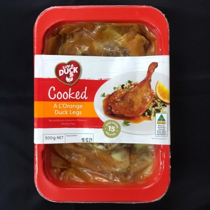 """-NEW-  AU Cooked A L'Orange Duck Legs Chilled (2 pieces/""""~500g""""pack)"""