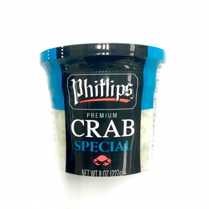 """Premium India Phillips Cooked Wild Caught Special Blue Swimming Crab Meat (meat from the body of crab) (""""~227g"""" tub)"""