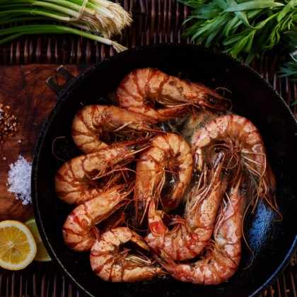 "Australian Wild Caught Tiger Prawns (~6-8 prawns/""~1lb""/pack)"